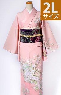 レンタル_K56:ピンク地牡丹に梅や菊[2L]×葵柄紫太鼓帯(ポリエステル)