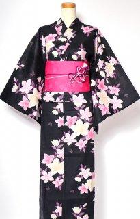 レンタル51:黒地黄桔梗に小蝶柄×淡い桜チェリー帯