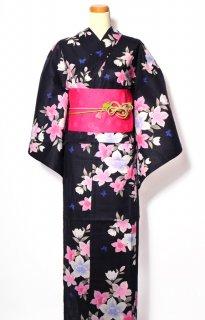 レンタル53:黒地桔梗に小蝶柄×淡い桜チェリー帯