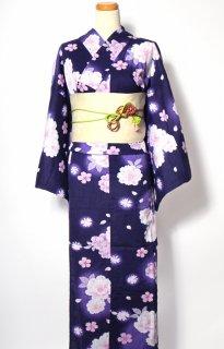 レンタル54:濃紺地ぼかしに八重桜柄×アイボリー帯