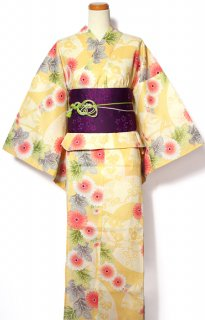 レンタル56:黄色地扇に菊柄×紫小花帯