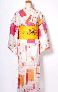 レンタル57:白地水彩格子柄×黄桐麻帯