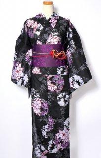 レンタル58:黒地花づくし柄×紫小花帯