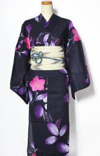 レンタル59:濃紺地桔梗に萩柄×矢かすり帯