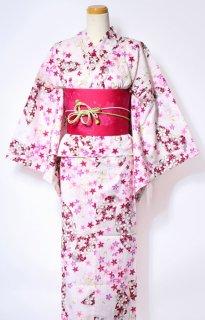 レンタル63:白地小桜に蝶柄×桜チェリー帯