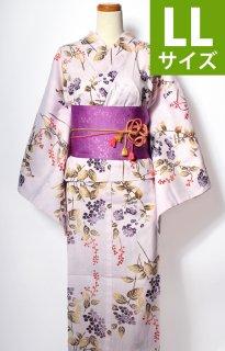 レンタル66:綿麻淡いピンク地あじさいに草花柄[LL]×淡い紫萩帯