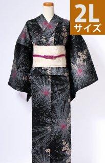 レンタル68:黒地乱菊柄[2L]×アイボリー菊へこロマン帯