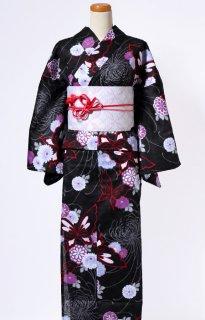 レンタル74:黒地蝶にぼたん柄×淡い紫七宝帯