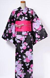 レンタル75:黒地蝶に菊柄×淡い桜チェリー帯