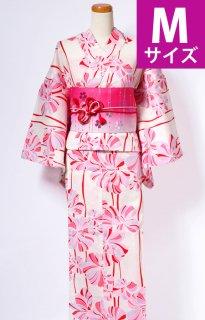 レンタル72:クリーム地リボン花柄[M]×ピンク縞桜帯