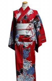 レンタル10:赤地菊柄×銀ラメ帯