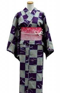 レンタル14:紫地市松トンボ柄×ピンク帯