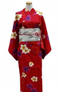レンタル23:赤地桜柄×矢かすり帯