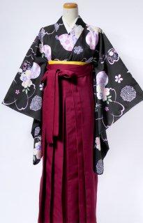 レンタル_KH02:黒地桜にまり[F]×えんじ袴