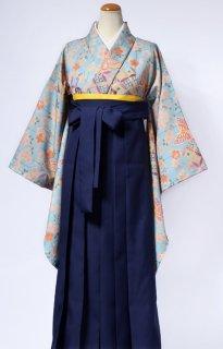 レンタル_KH11:水色地七宝に桜と蝶[F]×濃紺袴