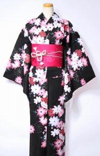 レンタル42:黒地コスモス柄[LL]×桜チェリー帯