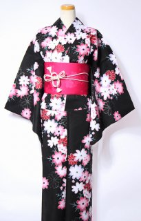 レンタル42:黒地コスモス柄×桜チェリー帯