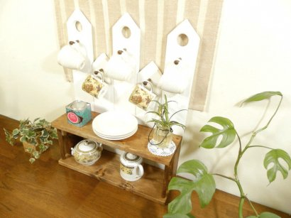 *ハンドメイド*Cup&Jewelry Rack (Tall)Color:Teak&White