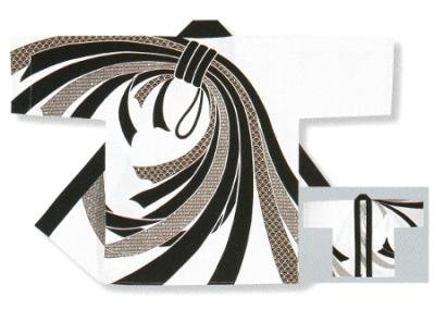 「若-6212」 本染め本格法被 タッサーブロード(綿100%) 白・黒