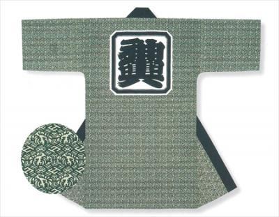 「連-6034」 長丈 薄緑地に濃緑
