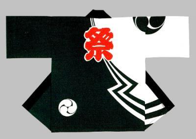 「吉-53357」 本染め本格法被 シャークスキン(綿100%)
