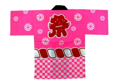 「祭02」 子供用 帯・鉢巻付 ピンク