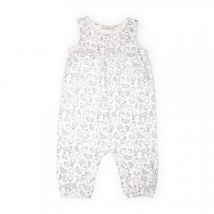 【SALE40%OFF】anais & i [アナイスアンドアイ] BABY JUMPSUIT OLIVE  BLACK/WHITE フルーツプリントロンパース(モノクロ)