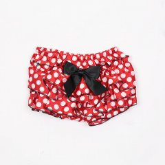 【2nd anv SALE OUTLET 90%OFF!】MG Baby Red Polka Dot Satin Ruffle Diaper Cover 赤×白ドット柄 サテン地ブルマ(レッド)