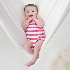 aden+anais [エイデンアンドアネイ] ロンパース shoking pink blazer stripe(ピンクストライプ)