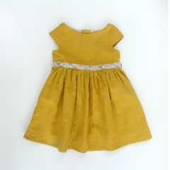 【SALE30%OFF】Je suis en CP! ROME DRESS gold double ジュ スィザン セーペー ウエストマークワンピース(イエロー)