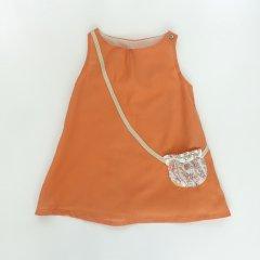 【SALE40%OFF】Je suis en CP! LIKE MUMMY DRESS melon ジュ スィザン セーペー ダミーポシェット柄ノースリーブワンピース(オレンジ)