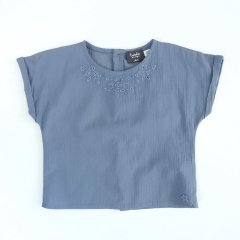 【SALE30%OFF】tocoto vintage EMBRODERY BLOSE BLUE トコト ヴィンテージ 刺繍ブラウス(ブルー)