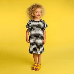 【SALE30%OFF】kids case 2036. Wave organic dress F. dark green キッズケース ベルスリーブボーダーワンピース(ダークグリーン)