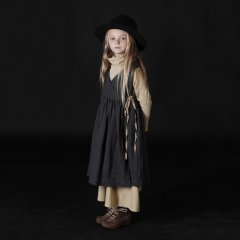 17AW Little Creative Factory Polina's Apron Dress SLATE リネンラップワンピース(ダークグレー)