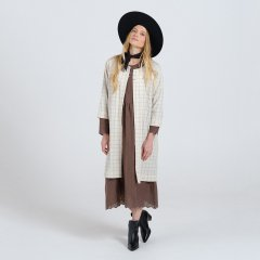 17AW Rylee + Cru check woven duster vanilla ライリーアンドクルー ロングライトジャケット(チェック)