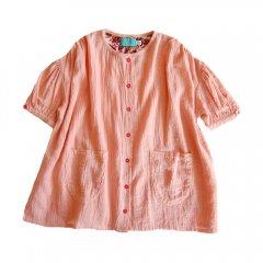 17AW lulaland CAROLINE DRESS CORAL CLOUD ルラランド ビッグシルエットワンピース(コーラルピンク)