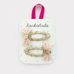 Rockahula Kids GLITTER MESH BOW CLIPS - PINK ロッカフラキッズ グリッターメッシュリボンヘアクリップ 2本組(ピンク)