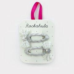 Rockahula Kids GLITTER MESH BOW CLIPS - WHITE ロッカフラキッズ グリッターメッシュリボンヘアクリップ 2本組(ホワイト)