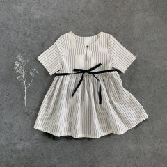 18SS little creative factory Tap Baby Dress 008/WHITE リトルクリエイティブファクトリー チュール付ストライプワンピース(ホワイト)