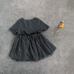 18SS little creative factory Tap Baby Dress 012/BLACK  リトルクリエイティブファクトリー チュール付ストライプワンピース(ブラック)