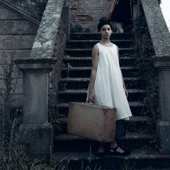 【SALE30%OFF】 little creative factory Dancer!_s Dress 002/IVORY コットンノースリーブワンピース(ホワイト)