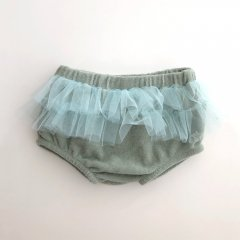 【SALE40%OFF】tocoto vintage TERRY FABRIC DIAPER COVER + TULLE RUFFLES 009. GREEN チュチュラッフルブルマ(グリーン)