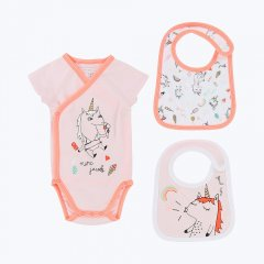 【SALE30%OFF】LITTLE MARC JACOBS BODY+BIBS SET リトルマークジェイコブス ボディ+ビブ ギフトセット(ボックス付/ピンク)