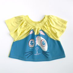 【SALE30%OFF】LITTLE MARC JACOBS SHORT SLEEVES TEE-SHIRT  YELLOW リトルマークジェイコブス 猫フェイスプリントTシャツ(イエロー)