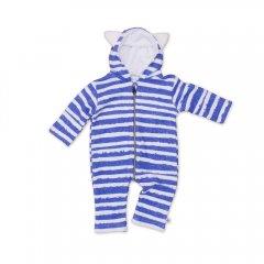 【SALE20%OFF】Noe & Zoe Jumpsuit w/ Ears blue stripes ノイアンドゾーイ フード付ジャンプスーツ(ブルー)