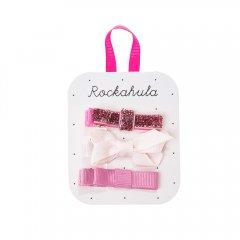Rockahula Kids GROSGRAIN GLITTER BOW CLIPS  ロッカフラキッズ グリッターリボンヘアクリップ 3本組(ピンク)