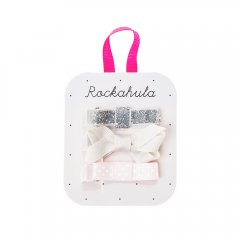 Rockahula Kids GROSGRAIN TWISTED BOW CLIPS   ロッカフラキッズ グリッターリボンヘアクリップ 3本組(シルバー)