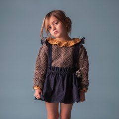 18AW tocoto vintage JERSEY GIRL LACE FABRIC BROWN トコトヴィンテージ 透かし編みニット(ブラウン)