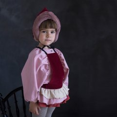 【SALE20%OFF】Popelin Stone-coloured Romper Suit with Frill burgundy ポペリン フリルロンパース(レッド)