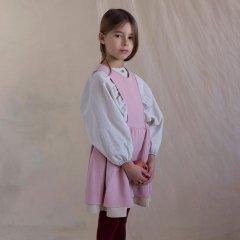 18AW Popelin Pink Dress with Bib ポペリン ジャンパースカート風ワンピース(ピンク)